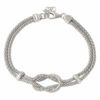 14K WHITE GOLD OVER 925 STERLING SILVER KNOT & BAR BRACELET / 8'' ADJUSTABLE