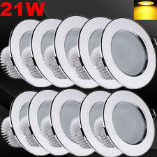 10pcs 21W Round Down Light Warm White LED Recessed Ceiling Panel Spot Lamp Bulb