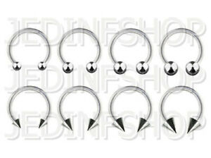 Circular Barbell Horseshoe Ring   2.0mm (12g) - 10mm 12mm 14mm 16mm   Steel