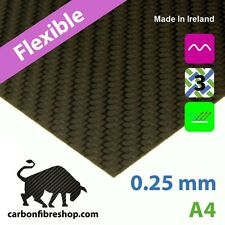 FLEXIBLE Real Carbon Fibre Sheet 0.25 mm A4 (210 x 297 mm) With 3M Adhesive