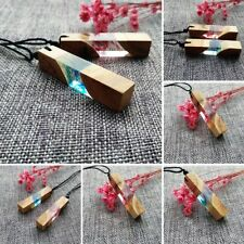 Hot Fashion Colored Resin Wood Pendant Rope Chain Punk Statement Necklaces Gift