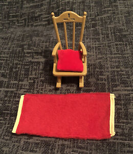 Sylvanian Families Rocking Chair With Cushion & Red Rug