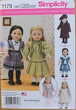 "18"" GIRL DOLL VINTAGE CLOTHES Pinafore Simplicity Pattern 1179 American Made"