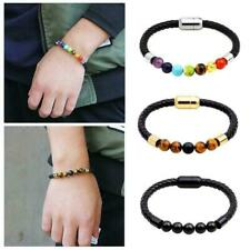 Women Men's Braided Leather Bracelet Beads Magnetic leather, Bangle Clasp R6C2