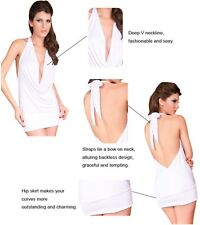 Sexy Women's White Deep V Front Party Dress Ladies Club Wear