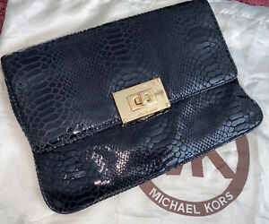 Genuine Michael Kors Black Leather Clutch Bag With Gold Chain 💕