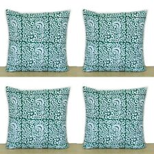 """16"""" Indian Hand Block Green Floral Printed Home Decorative 4 Pcs Cushion Covers"""