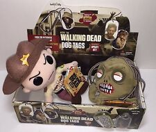 Walking Dead Dog Tag Maggie Greene on empty box plus 2 Funko POP Plushies Rick