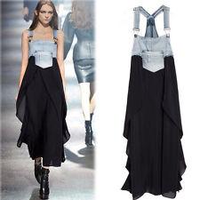 Damen Sommer Denim Maxi Spitzes Jeans Kleid  Latz Rock Trägerkleid Partykleider