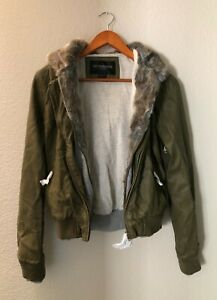 OBEY Danger Zone Army Green Hooded Faux Fur Faux Leather Jacket size small