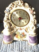 Vintage Porcelan Mantel Electric Clock Victorian Man And Women