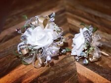 White Champagne Corsage and boutonniere set Prom Wedding Formal Artificial