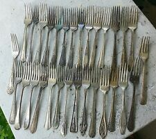 30 piece Silverware Silverplate Dinner Forks Mixed Lot Craft