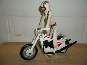 Vintage 1970s EVEL KNIEVEL  Stunt Cycle w/ Figure helmet belt Ideal Evil XR-750