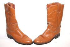 JUSTIN 3884 Ladies Brown Leather Cowboy Western Ropers Size 4.5c Wide White Tag