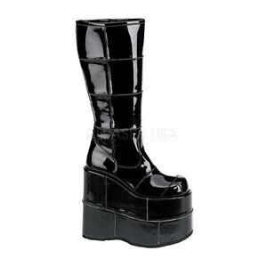 """HUGE 7"""" Monster Platform Brick Cyber Stack Shiny Black Knee Goth Boots Mens 4-13"""