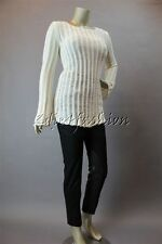 New MINK PINK Cream Net Stripe Stretchy Sheer Open Weave Tunic Sweater Top XS
