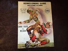 Oct 29 1949 Carrol College vs Millikin Football Program with huge Coca Cola Ad