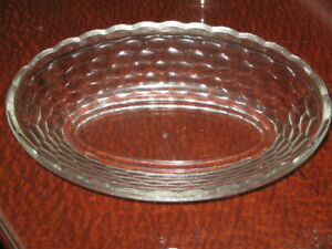 3 Oval Elegant Cut Glass Retro Dishes Frost Ribbing Circles Star Flower Scallope