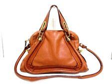 Authentic Chloe Brown Paraty Leather Handbag w/ Shoulder Strap