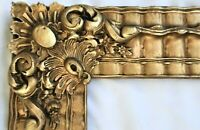 RARE ANTIQUE FIT 14 X 17 GOLD PICTURE FRAME WOOD ORNATE FINE ART BAROQUE COUNTRY