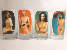 Old Vintage Naked Nude Pin Up Girl BAR Drinking Glasses Glass Set Peek A Boo LOT