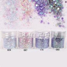4boxes/set 10ml Purple Sequins Glitter Powder Super Matte Powder Nail Art Decor