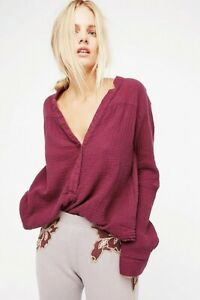 NWT Free People Changing Horizons Washed Red Tunic L