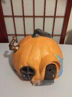 Vintage 80s Ceramic Halloween Pumpkin House Jack O Lantern Light Up