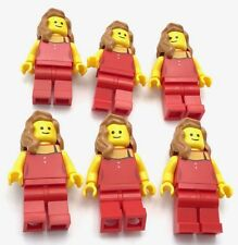 Lego 6 Female Minfigures Red Dress Girls With Standard Smile and Hair Figs