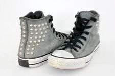 CONVERSE CHUCK TAYLOR ALL STAR GREY LEATHER STUDDED HI TOP SNEAKER SIZE 7