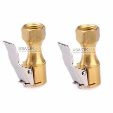 "2Pcs 1/4"" NPT Straight Brass Lock-on Tire Inflator Air Chuck Female Chuck w/Clip"