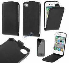 Per Apple Iphone 4 S Custodia Nera Flip Eco Pelle Cover Case Magnetica Pellicola