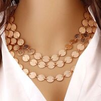 Women Fashion Jewelry Multilayer Chain Pendant Choker Statement Bib Necklace