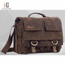 EIRMAI Coffee canvas DSLR Camera Bag Messenger Shoulder Bag sz L For Canon Nikon