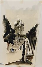"SERGE PAQUE ""PLACE D'ARMES"" QUEBEC 1968 ORIGINAL WATERCOLOR PAINTING"