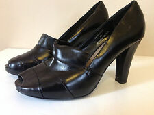ROCHA.JOHN ROCHA gorgeous black leather heeled peep toe high front shoes 39 UK 6