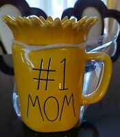 "Rae Dunn ""# 1 Mom"" Ceramic Yellow Mug With Sunflower Topper"