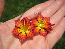 Huichol Bead Indian Flower Earrings earring jewelry Art Hand Made Mexico A4