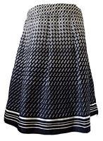M&S Portfolio Navy A-Line Skirt Geometric Print Satin Silky Pleats Smart Size 16