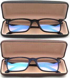 Blue Ray Blocking Reading Glasses Rectangular Frame Metal Spring Temple w/ Case