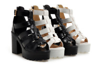 Womens Gladiator Sandals Shoes High Block Hollow Out Heel Buckle Platform Casual