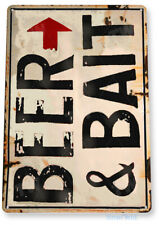 Beer Bait Fishing Fish Hook Marina Bait Shop Tin Sign B861