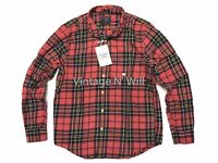 Abercrombie Fitch AF Jeans Mens XL Red/ Black Check Plaid Flannel Slim Fit Shirt