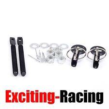 Alloy Mount Bonnet Hood Pin Lock Latch Kit Universal Racing Sport Car Black