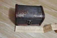 Wooden Vintage Treasure Chest Wood Jewellery Storage Box Case Organiser Ring JKH
