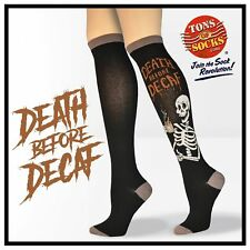 Women's Death Before Decaf Cotton Knee Socks