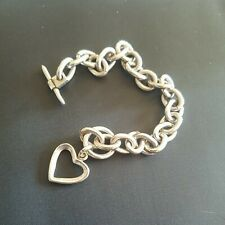Mexico, Heart Pendant Silver Link Bracelet From