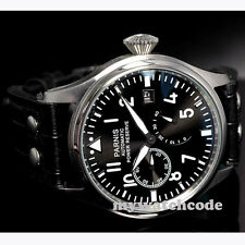47mm parnis black dial power reserve date automatic black strap mens watch P98