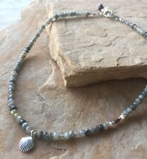 "18"" Gray Labradorite Gemstone Silver Shell Charm ""Kai Keiki"" Necklace"